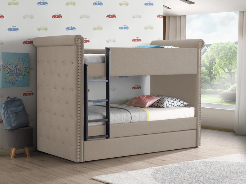 Jamboree Twin Bunk Bed With Trundle Beige Bunk Bed With
