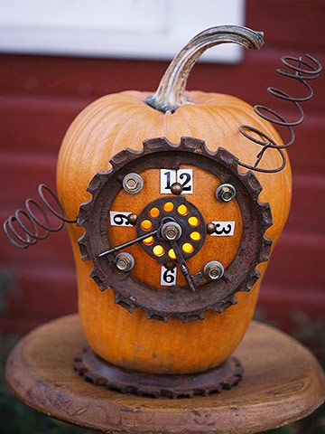 what could be better than pumpkins decorated with junk?