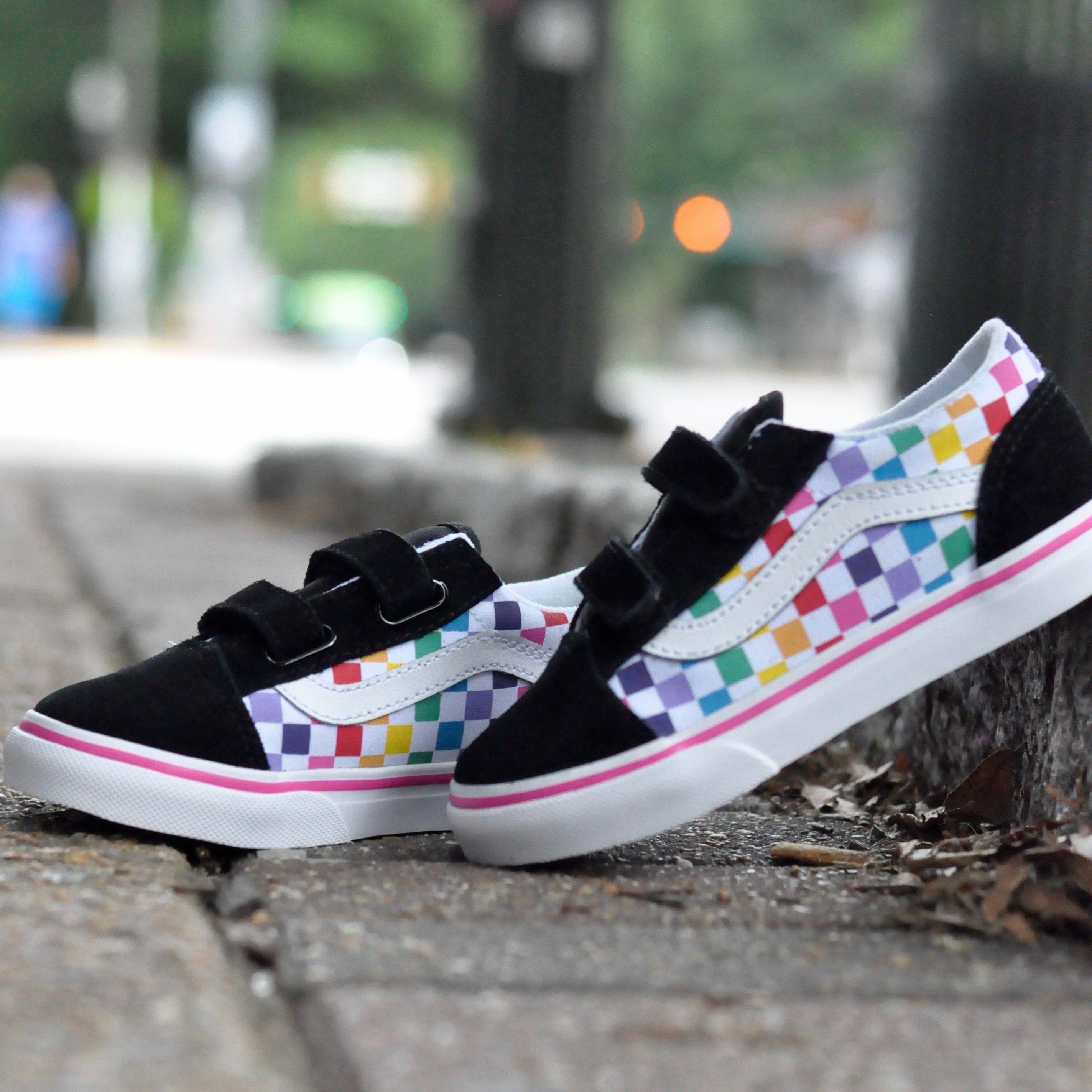 Old Skool Rainbow with velcro straps | Vans shoes kids, Shop