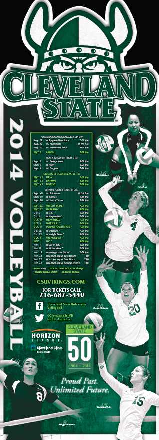 Cleveland State Volleyball Poster 2014 Volleyball Posters Cleveland State Wrestling Posters