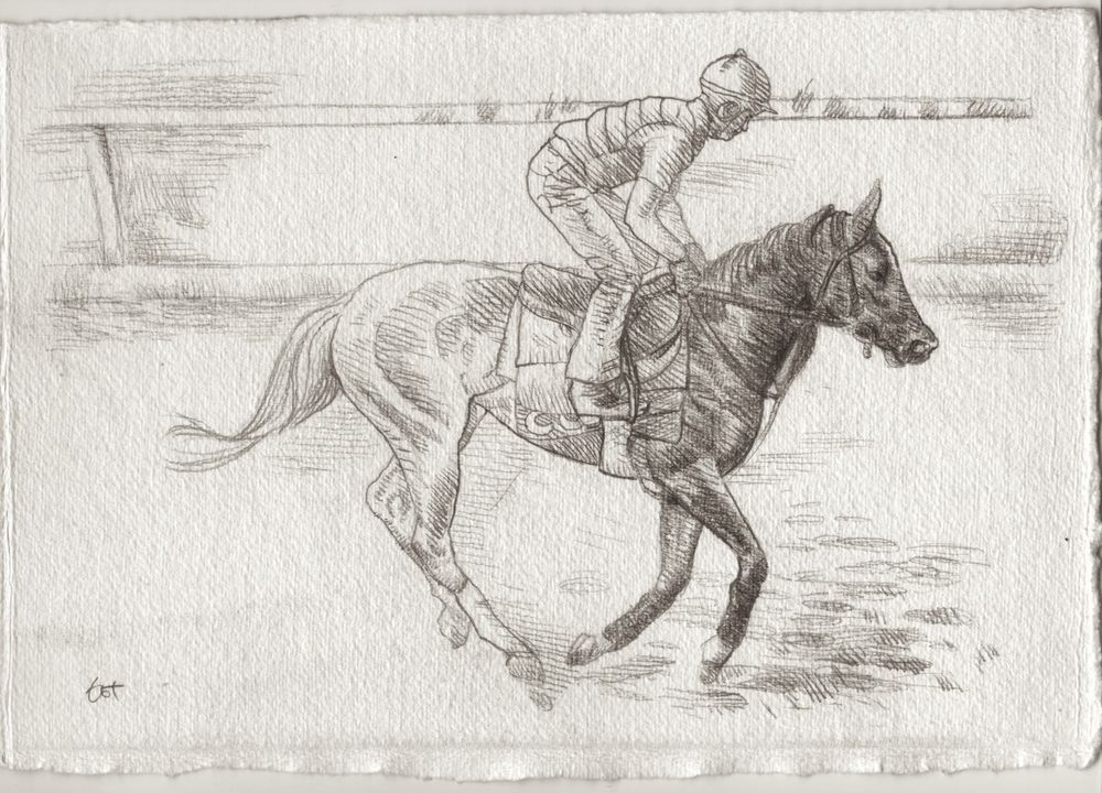 Racing Day #2. 7.5x11in. Horse Racing Drawing #Realism