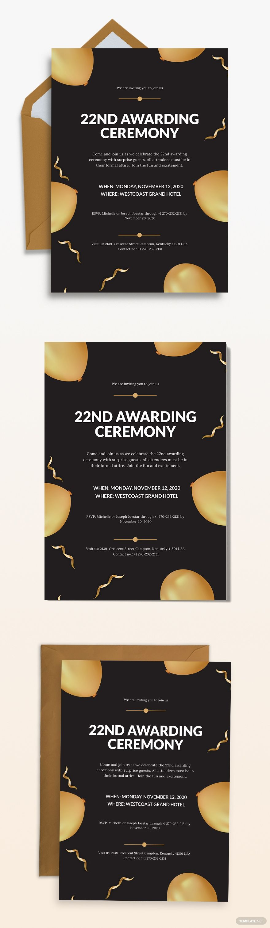Award Ceremony Invitation Template Free Jpg Illustrator Word Outlook Apple Pages Psd Publisher Template Net Invitation Template Party Invite Template Party Invitations Printable