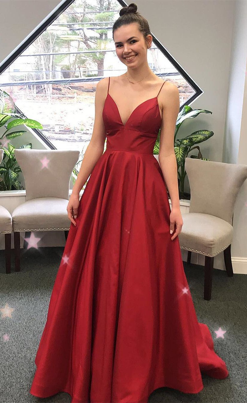 simply and elegant red long prom dress, prom dress 2019 ...