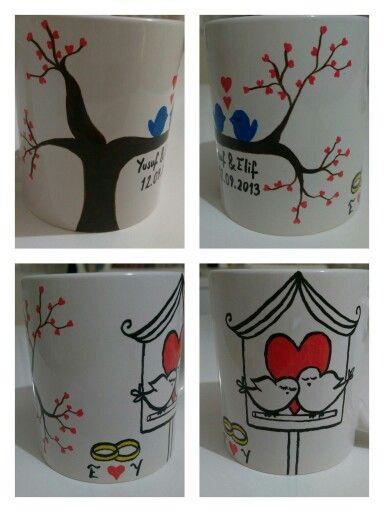 Porselen Bardak Boyama Porselen Boyama Mugs Tableware Ve Kitchen
