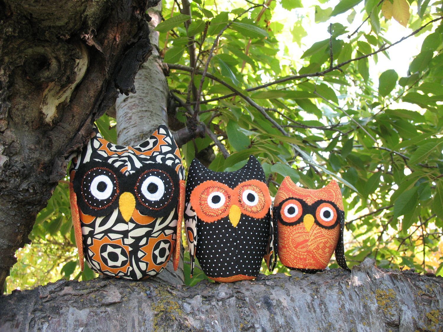 owl family sewing pattern owl plushie pattern toy owl pattern stuffed owl pattern 3 sizes halloween decorations
