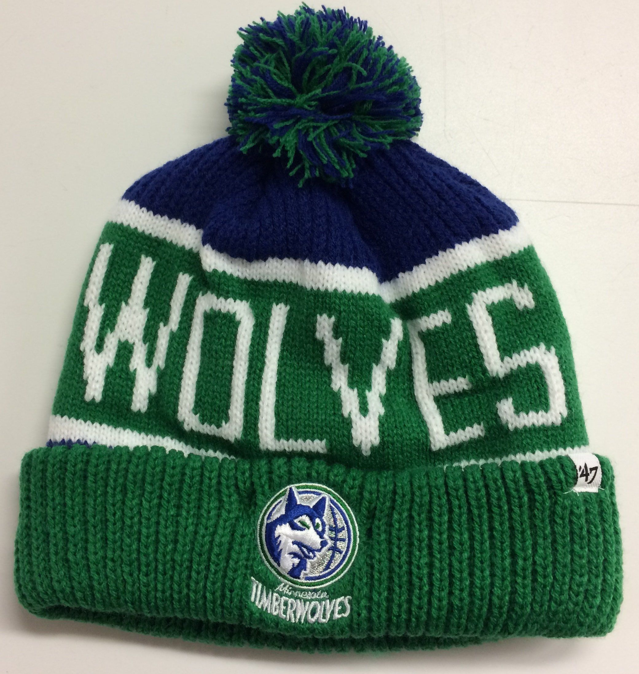 Minnesota Timberwolves  47 Brand Calgary NBA Knit Hat Retro Beanie Stocking  Cap Cuff   Pom Hardwood Classics Wolves 9c88fbe6759