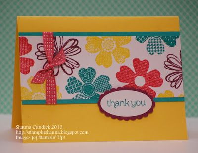 Thank you card featuring Stampin' Up! Flower Shop stamp set #StampinUp