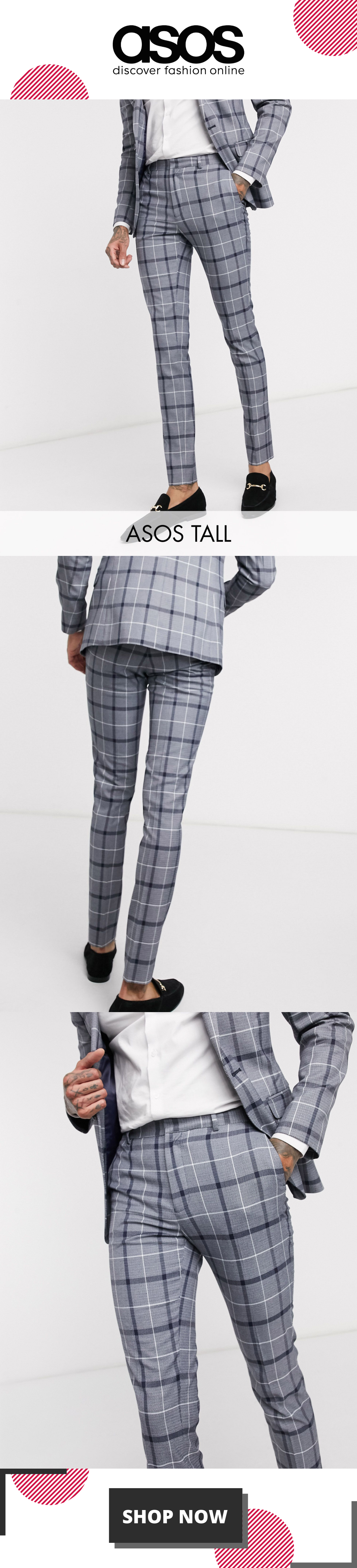 ASOS DESIGN Tall super skinny suit trousers in navy and white bold check