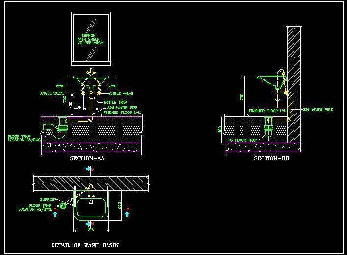 Wash Basin Front Elevation Autocad : Wash basin plumbing details showing its plan elevation
