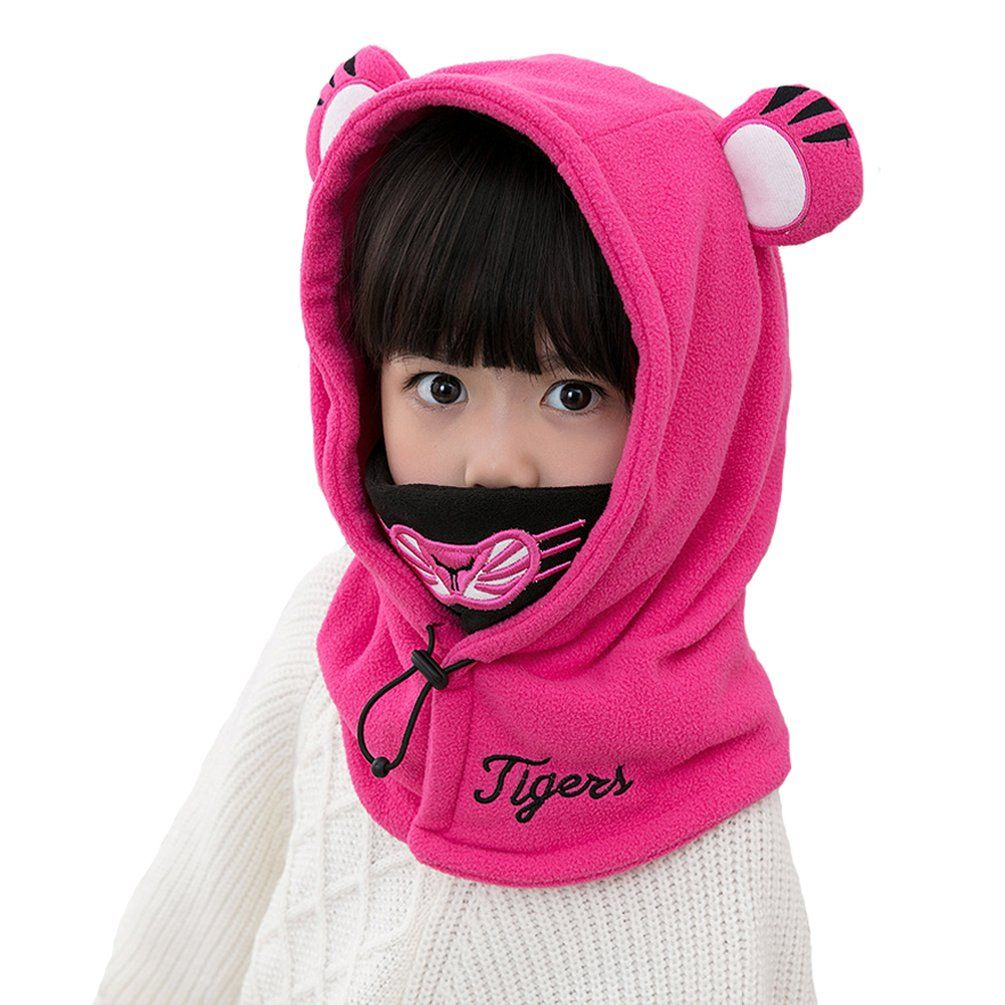 964e5885d5d HZTG Baby Girls Boys Winter Warm Cartoon Cap Face Cover Hat Balaclava  Windproof Skiing Cycling Mask Rose Red     See this great product.