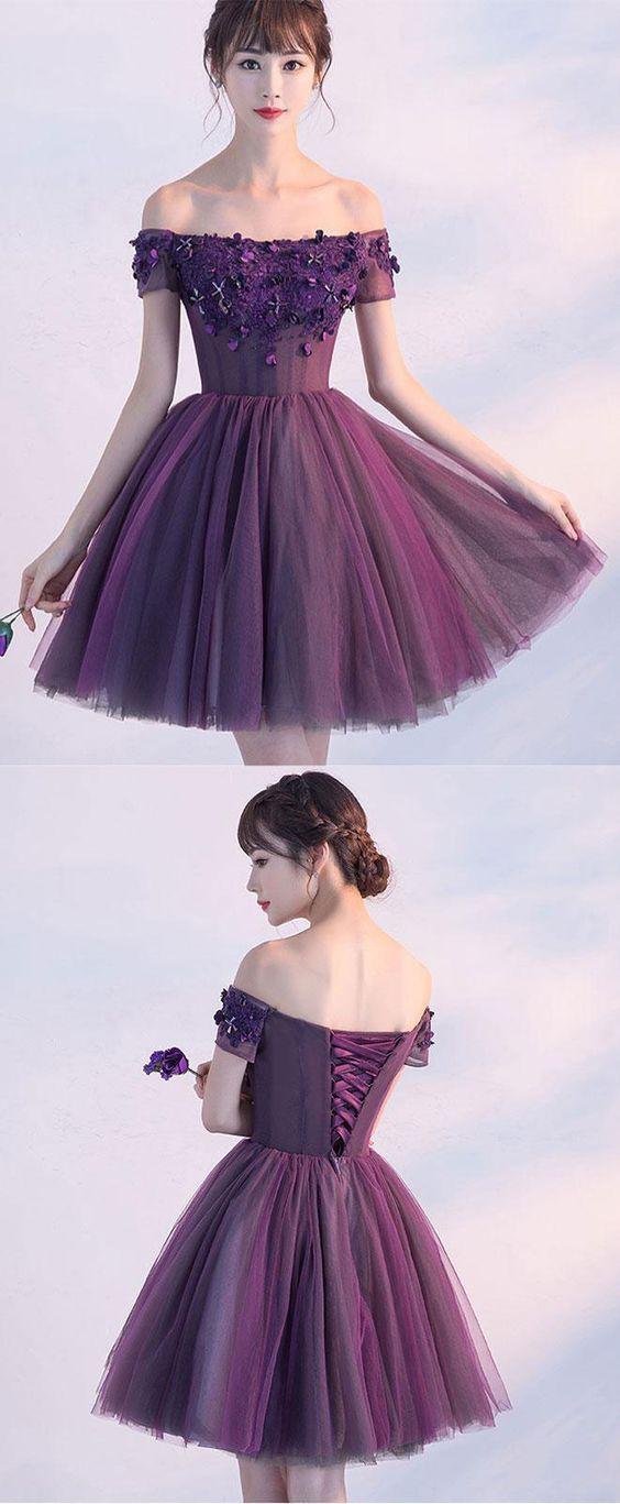 Cute A line purple off shoulder short prom dress, homecoming dresses ...