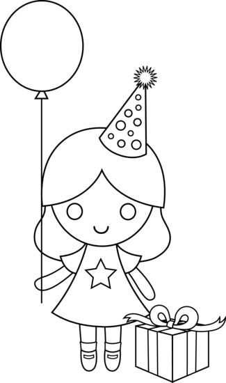 Birthday Drawing For Kids Birthday Girl Coloring Page