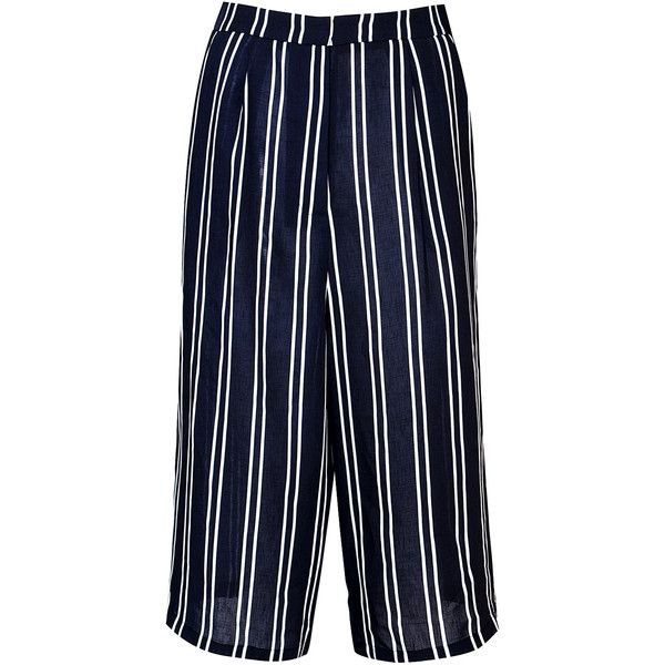Glamorous women's navy and white stripe culottes. Features vertical stripe  print, cropped length and wide leg design.