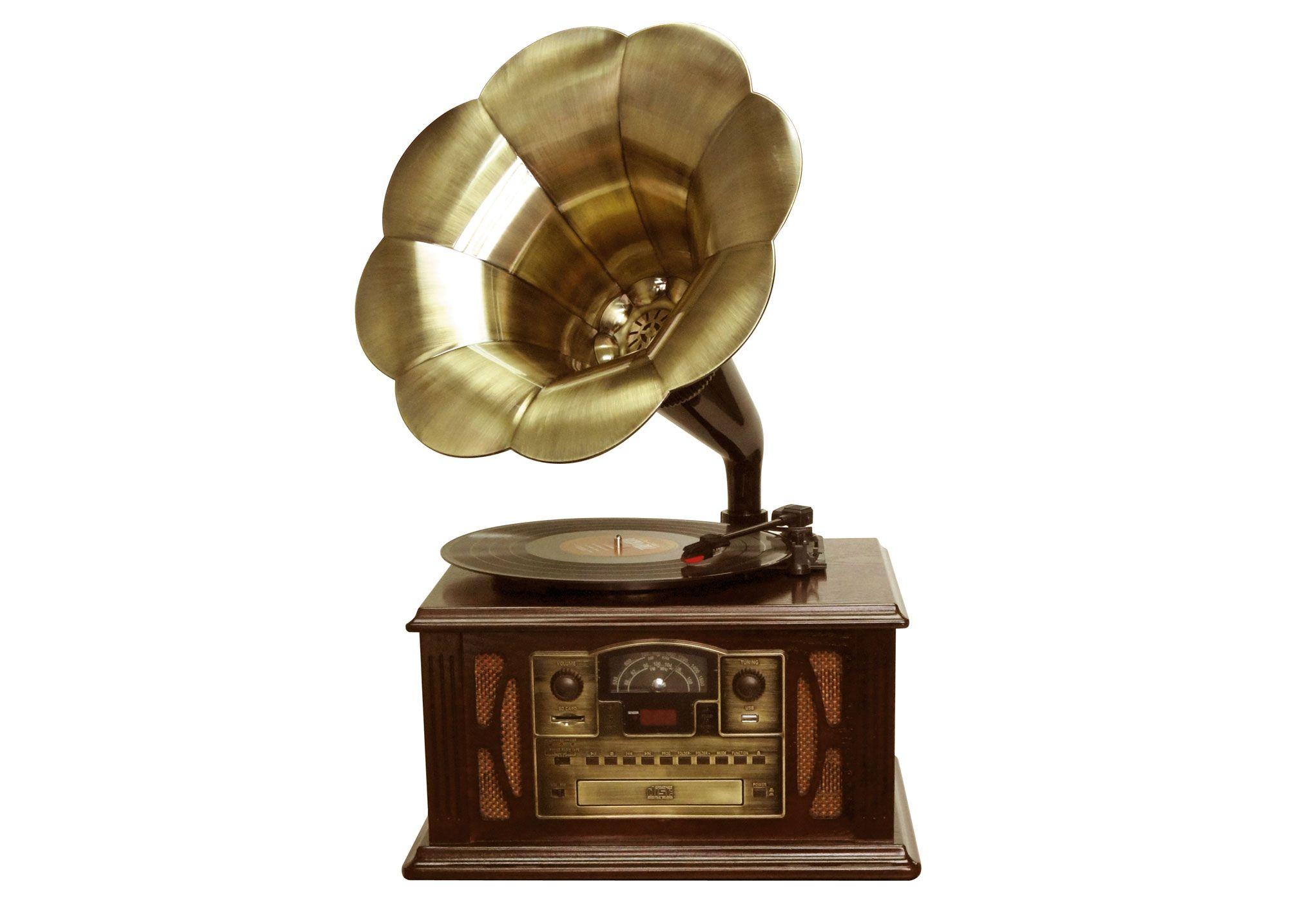 Gramofono clasico con trompeta   Funcion encoding la grabacion del vinilo al U.Radio AM/FM estereo. Compatible con CD/MP3/CD-R/CD-RW. Entrada de tarjetas USB. Entrada jack auriculares. 3 velocidades 33/45/78 RMPTrompeta de sonido de metal. Mando a distancia CD/USB. Incluye aguja de recambio. Potencia de salida: 2,0W (m�x.).... Eur:249 / $331.17