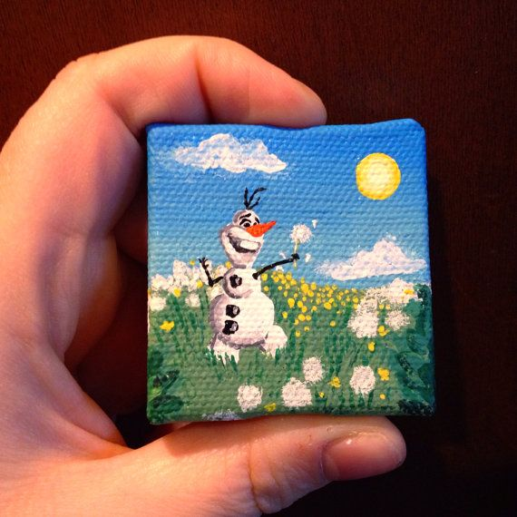 Frozen Olaf In Summer 2x2 Acrylic Painting Yay This Is Too Cute