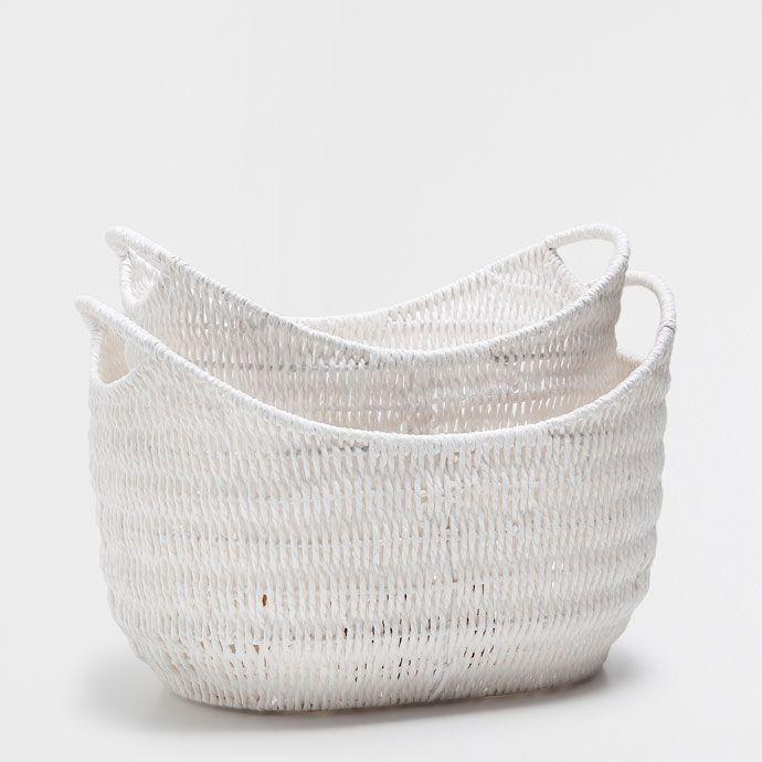 Cesta blanca con borde arqueado cestas decoraci n for Cestas zara home