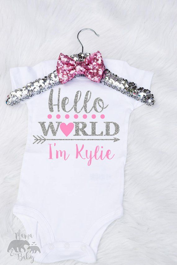 714fd355a Baby Girls Hello World Onesie, Hello World Personalized Onesie, Hello World  Shirt, Newborn Onesie, C