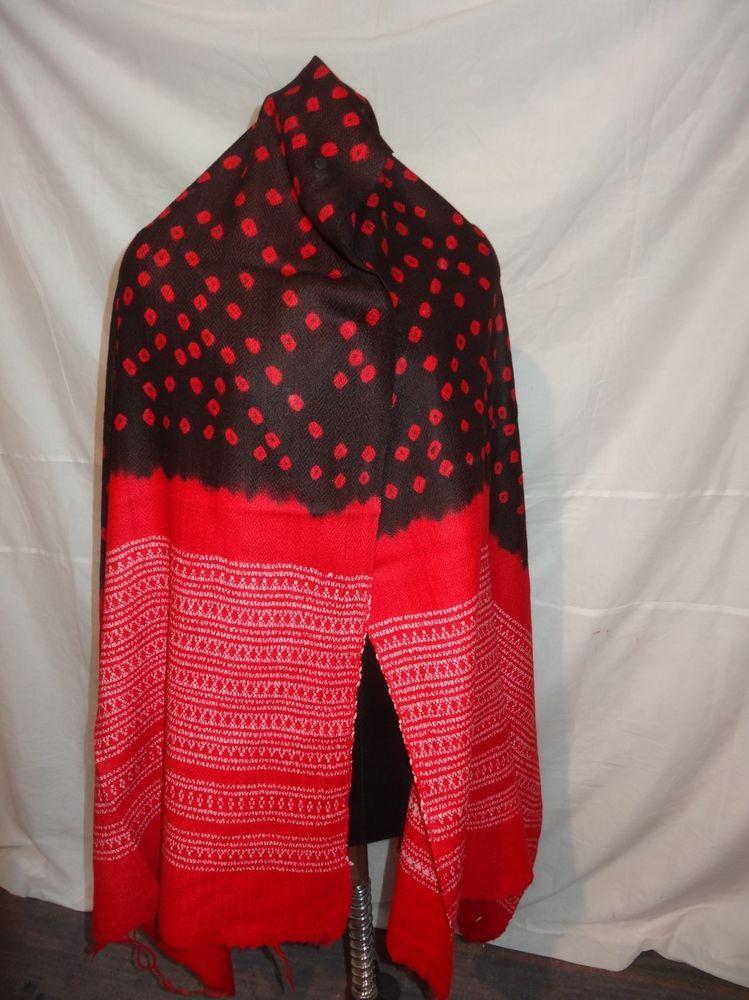 India Bandhani shawl / tie dye / shawl / Khadi / pure wool