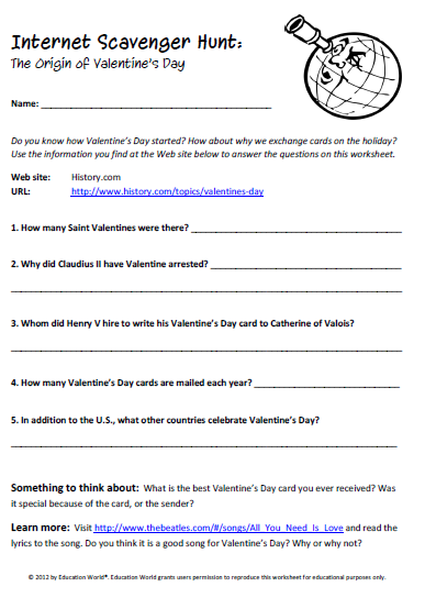 Internet Scavenger Hunt Valentines Day Education Pinterest