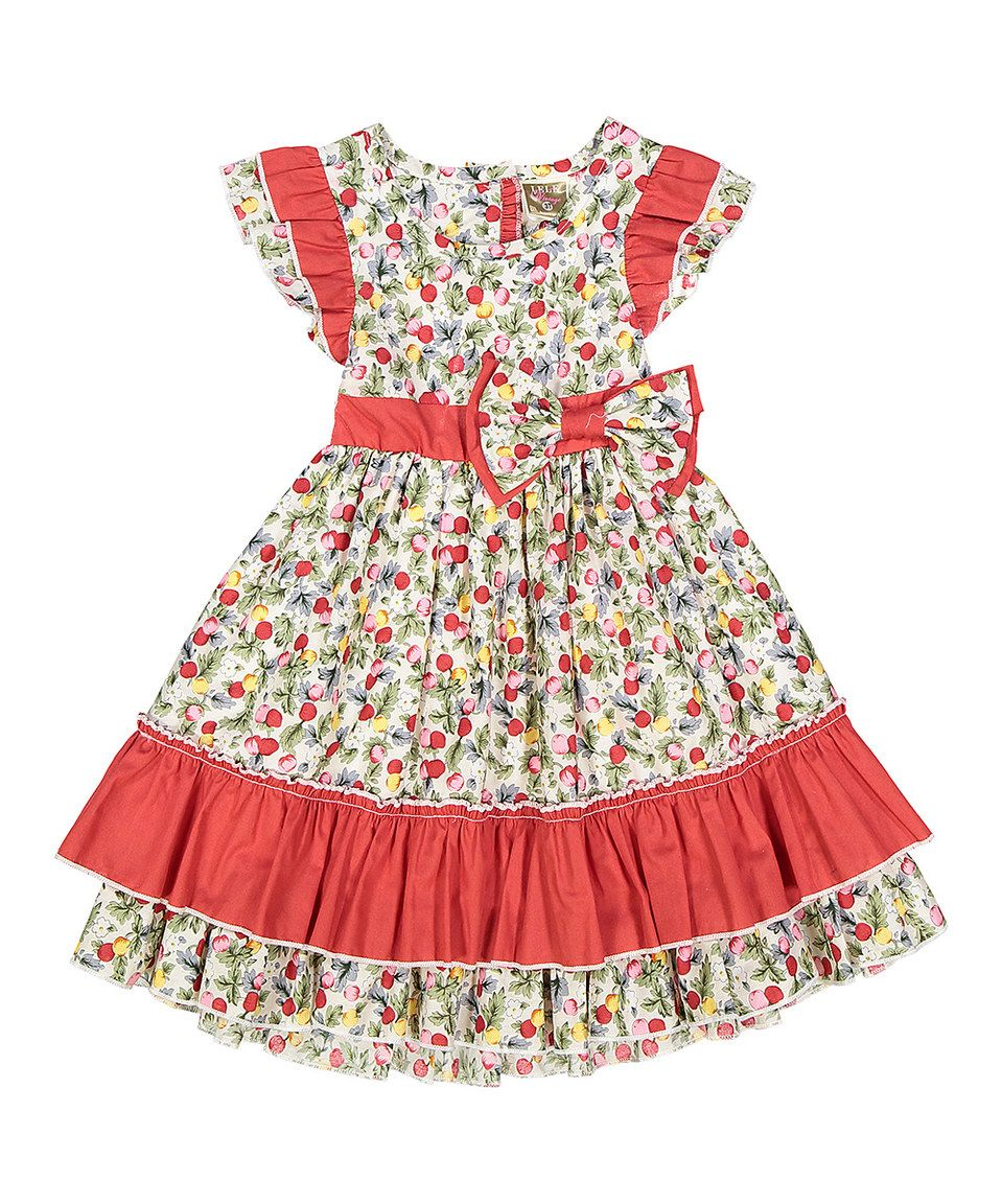 This red floral dress kids by lele vintage is perfect