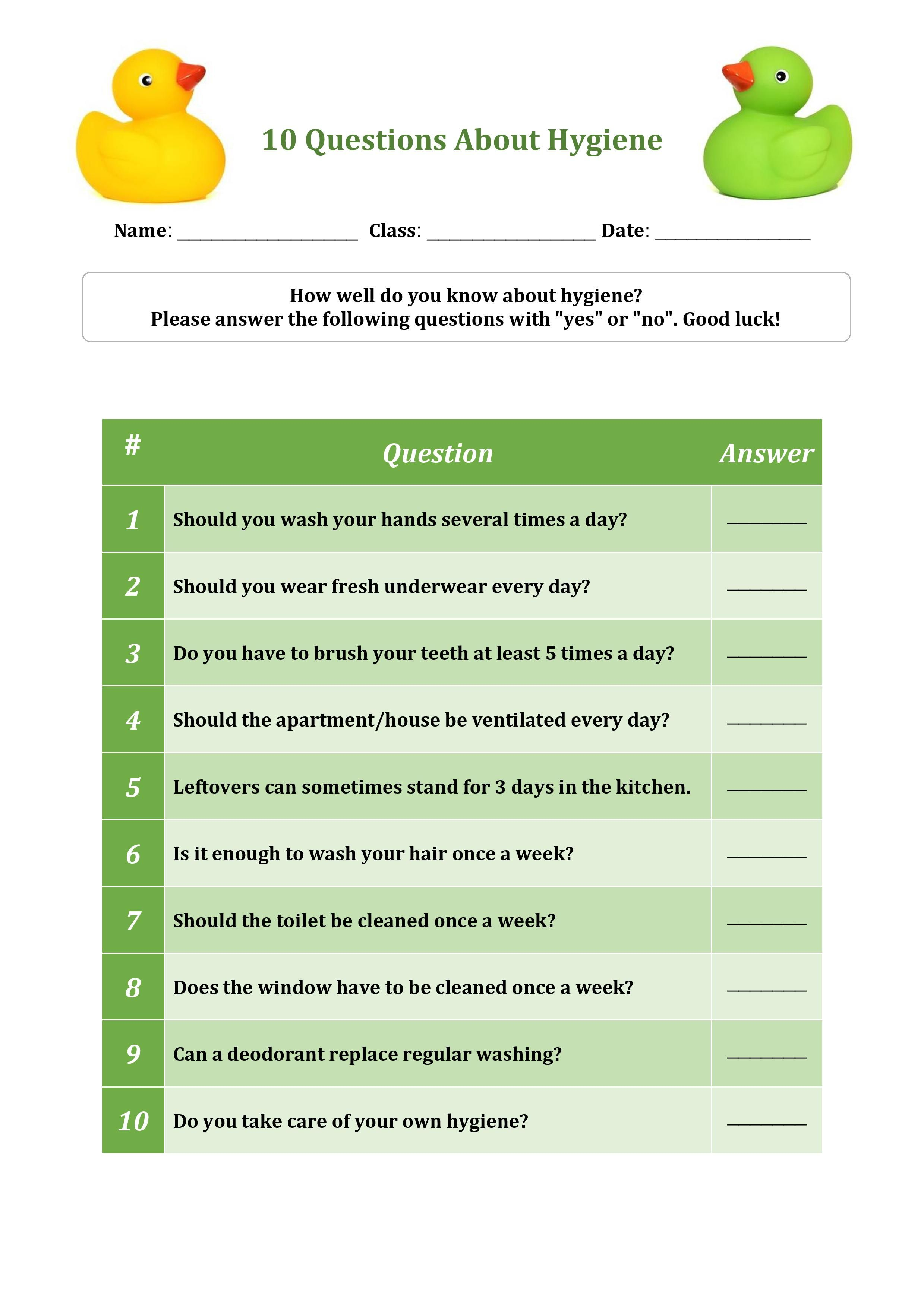 10 Questions About Hygiene Worksheet For Primary School Students Personal Hygiene Worksheets Educational Worksheets Hygiene Lessons [ 3508 x 2479 Pixel ]