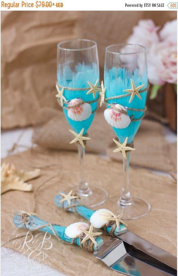 Beach Wedding Champagne Flutes Personalized Aqua Beach Wedding