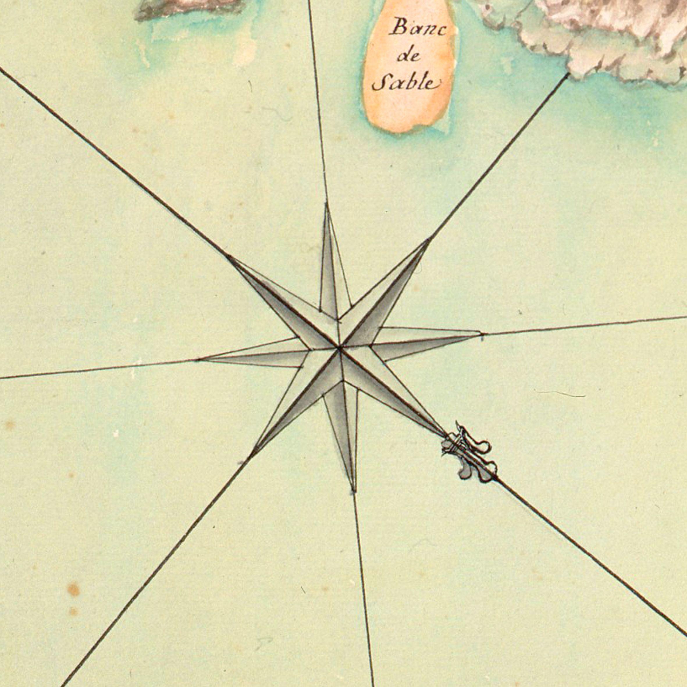 Rose Des Vents Detail D Une Carte De L Ile De Noirmoutier 1736 C Musee Des Plans Reliefs Cote B93 Rose Des Vents Carte Marine Carte