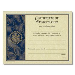 Rotary CUSTOMIZED Certificate Of Appreciation
