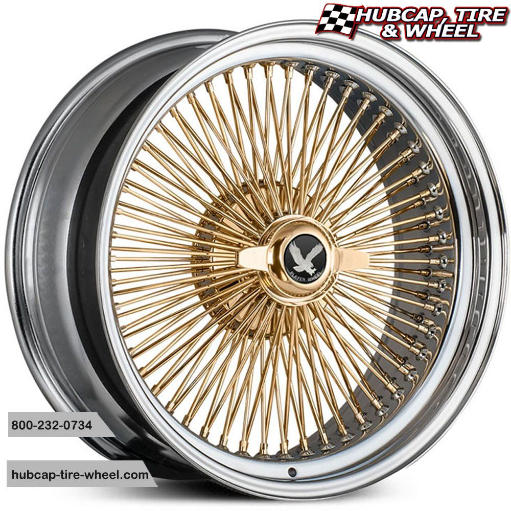 Player Wire Warrior 100 Spoke Chrome Gold Center Two Wing Cap Wire Wheel Rims Wheels And Tires