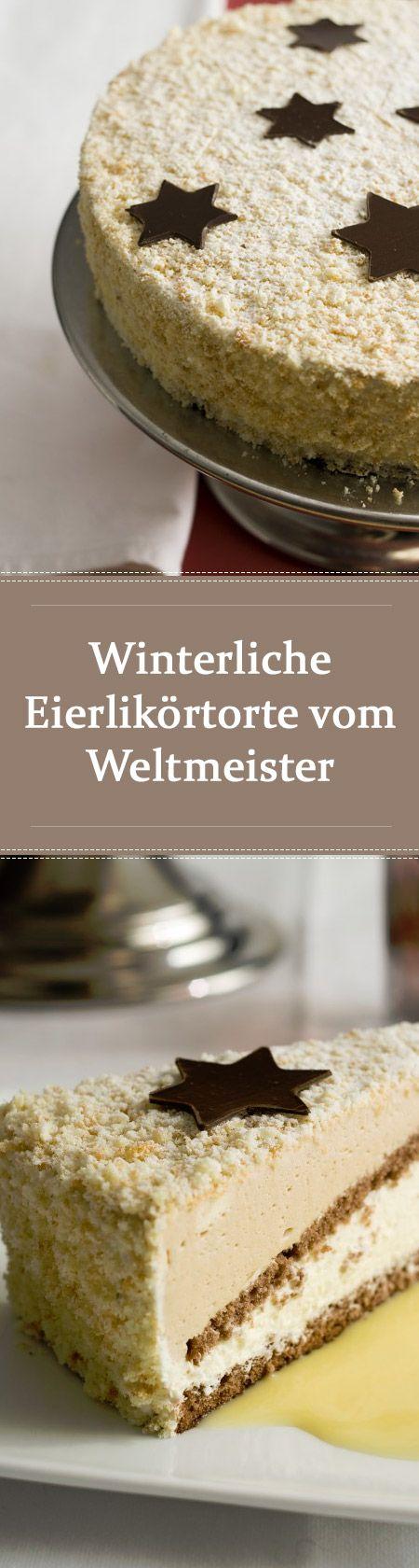 Winterliche Eierlikörtorte vom Weltmeister der Konditoren Manfred Bacher - Kuchenrezepte mit Eierlikör #christmascocktails