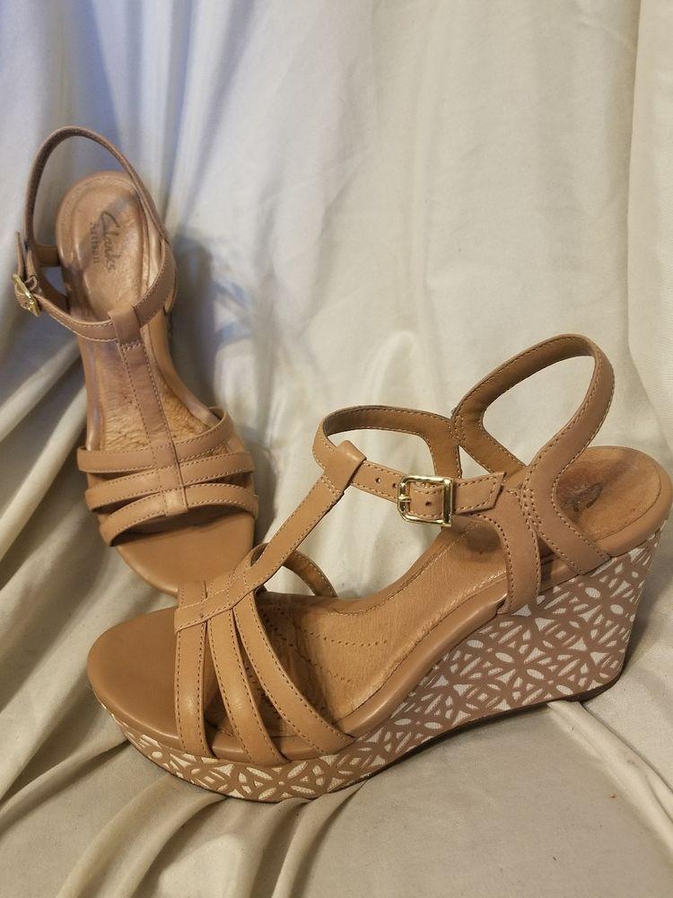 a97108ff07b1 Clarks artisan Amelia Avery wedge sandals sz 8 M beige leather t-strap  platform