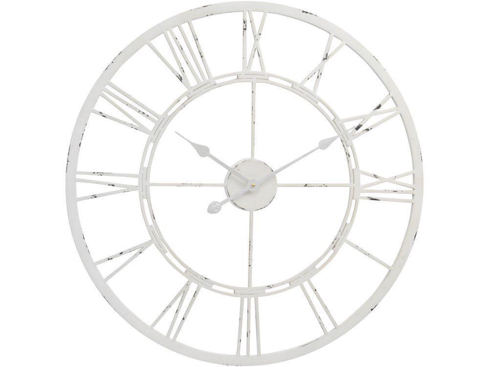 Metal Skeleton Clock in Antique White Metal clock Skeletons and