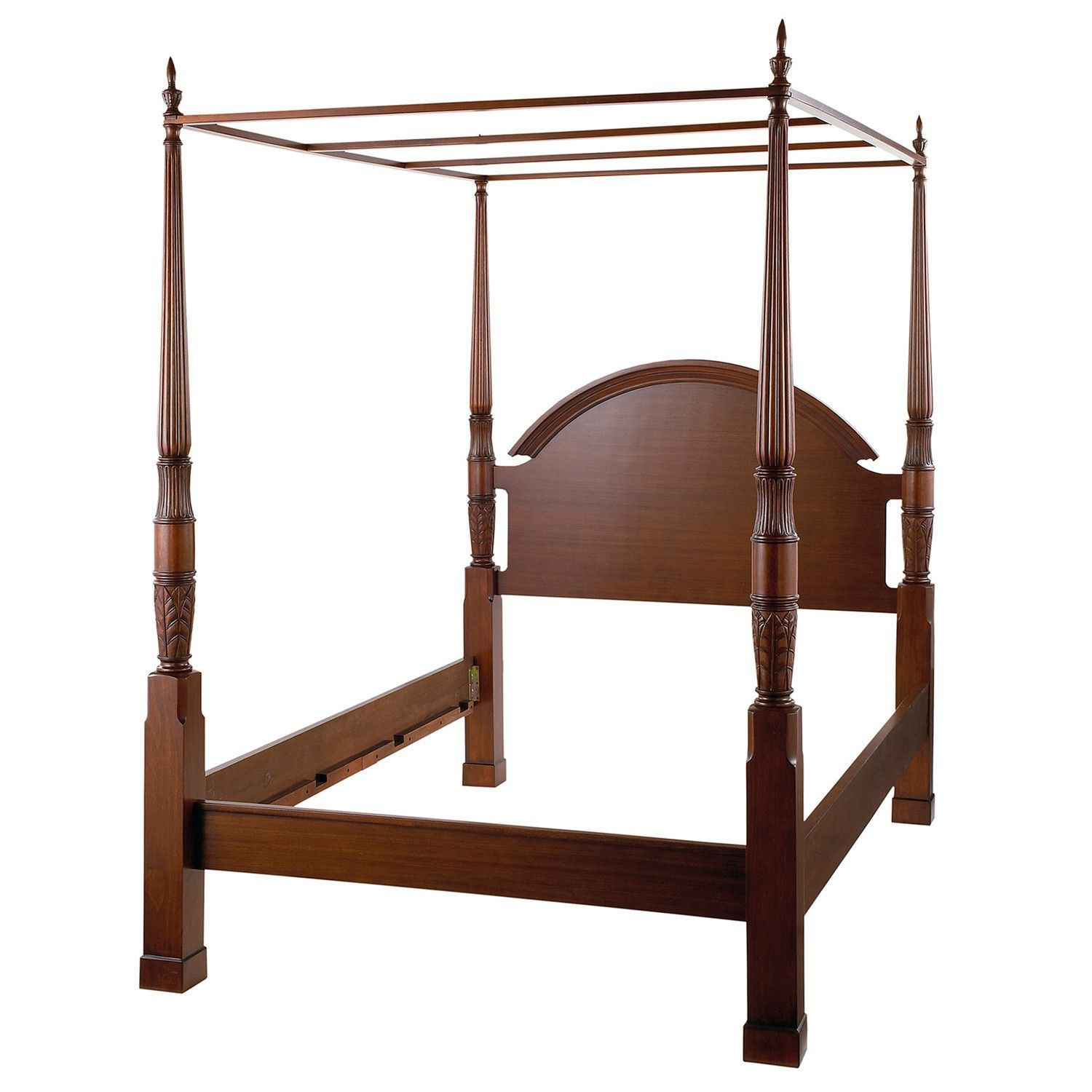 King Size 4 Poster Bed Part - 38: King Size Traditional 4 Post Canopy Bed In Antique Mahogany Finish