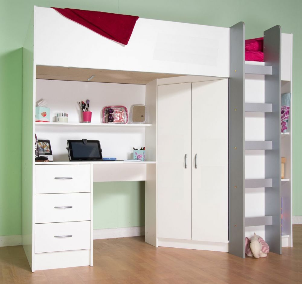 High sleeper cabin bed with desk and wardrobe Calder ...