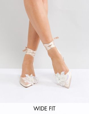 Asos Wonderlust Bridal Wide Fit Embellished Mid Heels Wedding