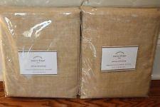 2 NWT Pottery Barn Emery pole top drape panels 50x108 wheat gold linen cotton qt
