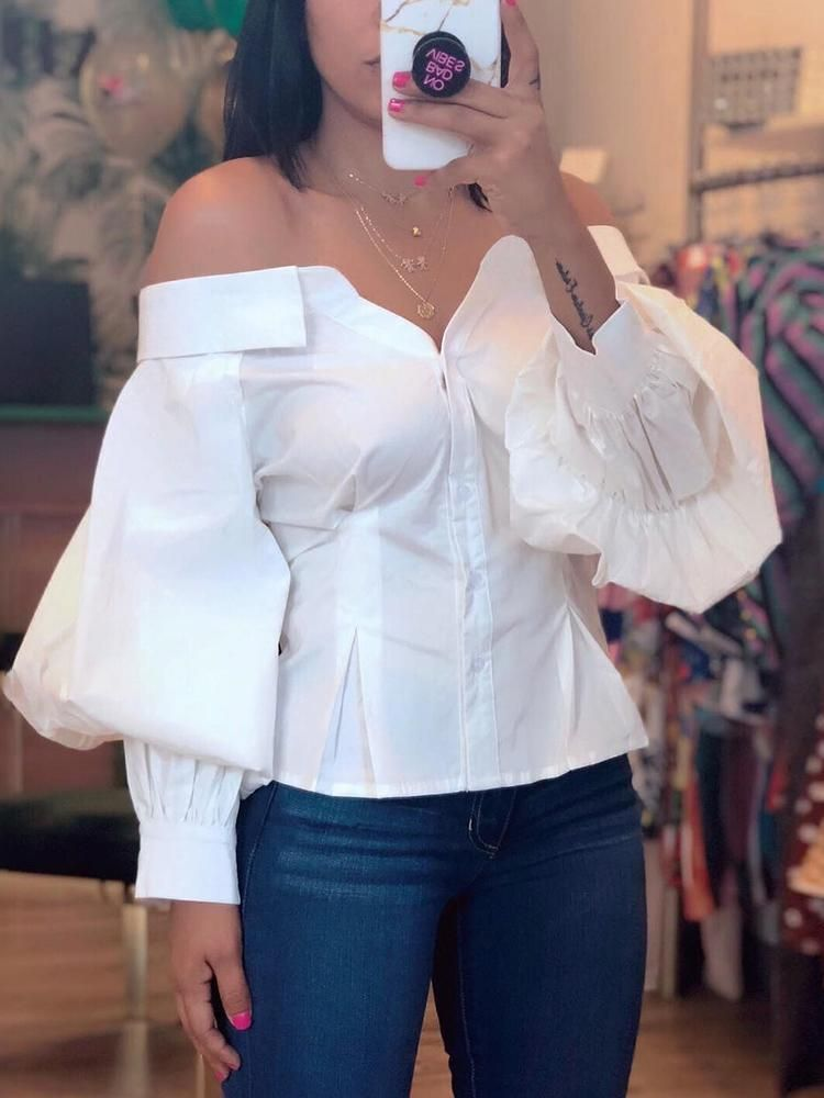 136781535f Lantern Sleeve Off Shoulder Blouse  chicme shoes