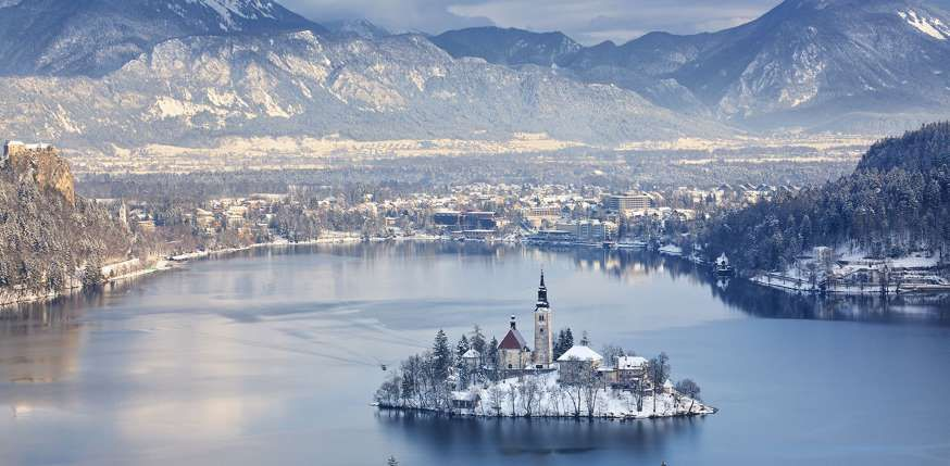 Little Church Big Lake Lotta Snow Ps Bled Is A Town On