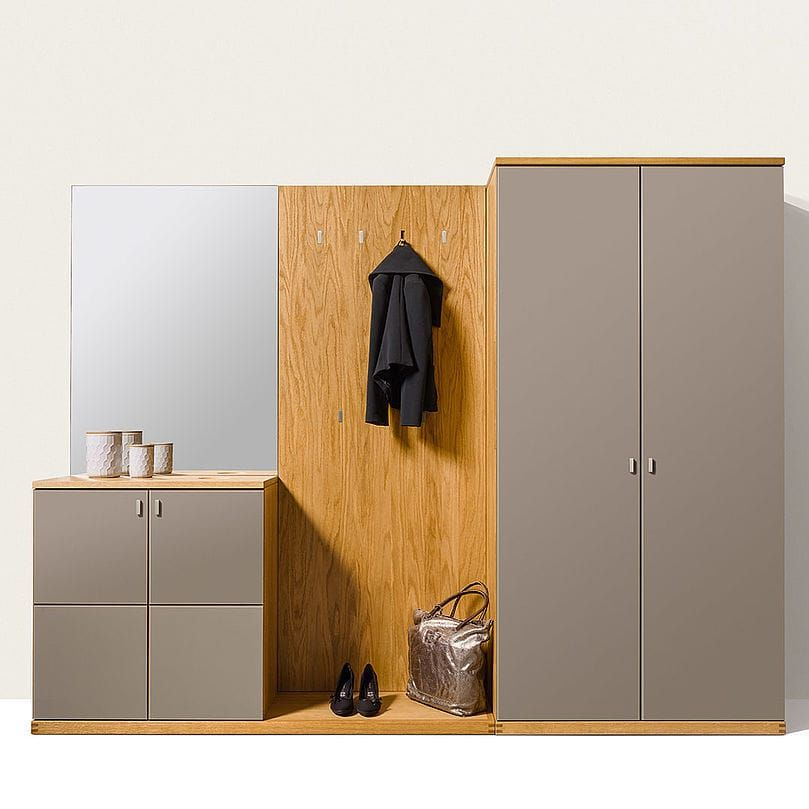 Contemporary wardrobe / oak / walnut / with sliding door - NOX