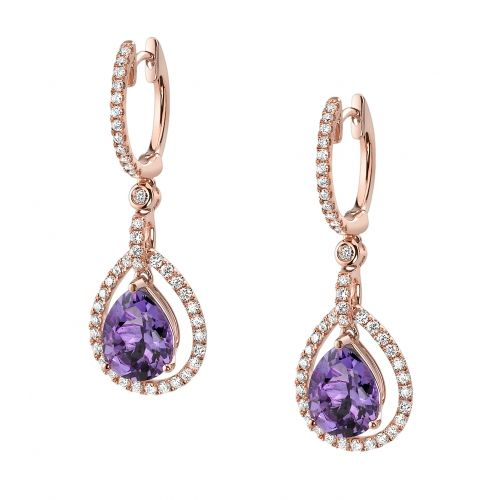 Amethyst and Diamond Fashion Earrings