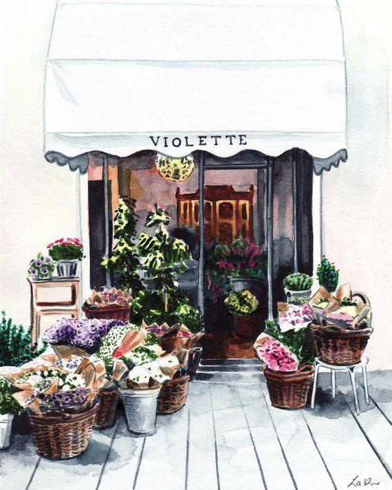 Paris Flower Shop Florist Country Garden Print Of Watercolor Etsy In 2020 Flower Shop Design Flower Shop Floral Painting