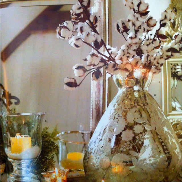 Mercury glass vase of cotton