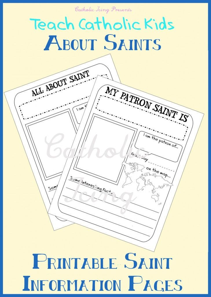 2 printable Notebooking Saint Pages (Saint writing prompt  short - basic report template