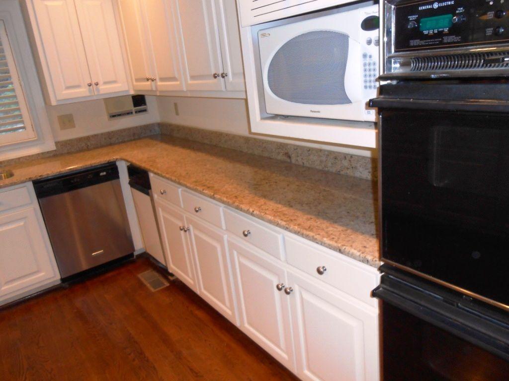 GIALLO ORNAMENTAL Granite 4 25 13 Granite Countertops Installed In  Charlotte NC 50/50 Sink Half Bullnose Edge 4 1/2 Inch Giallo Ornamental  Backsplash White ...