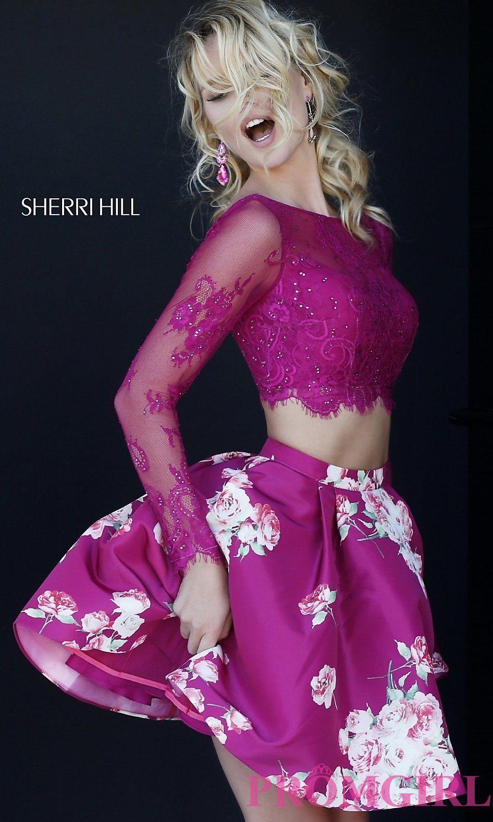 Print two piece long sleeve short dress promgirl fashion