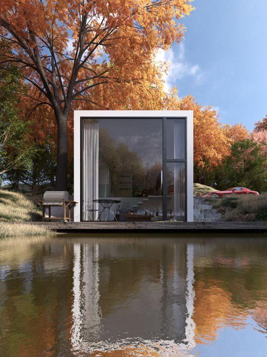 Simple cube lake house.