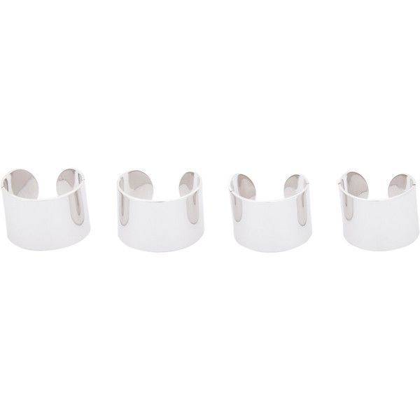 Maison Margiela Quad Ring Set (€385) ❤ liked on Polyvore featuring jewelry, rings, accessories, fillers, colorless, engraved jewelry, brass ring, channel-set band ring, clear crystal jewelry and clear jewelry