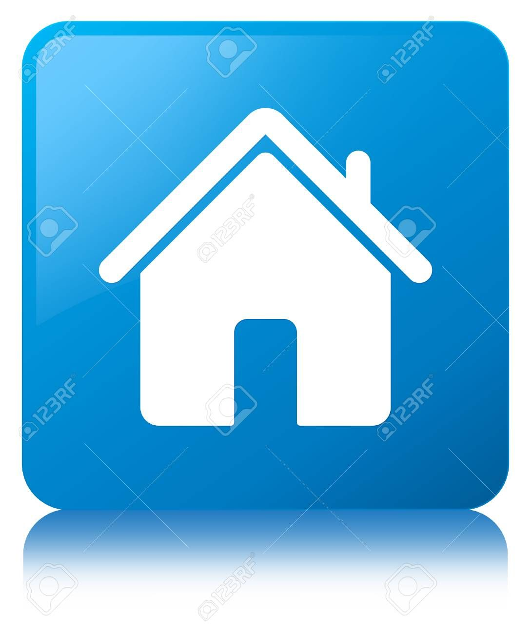 Home Icon Isolated On Cyan Blue Square Button Reflected Abstract Illustration Stock Photo Ad Cyan B Logo Design Typography Home Icon Fitness Logo Design