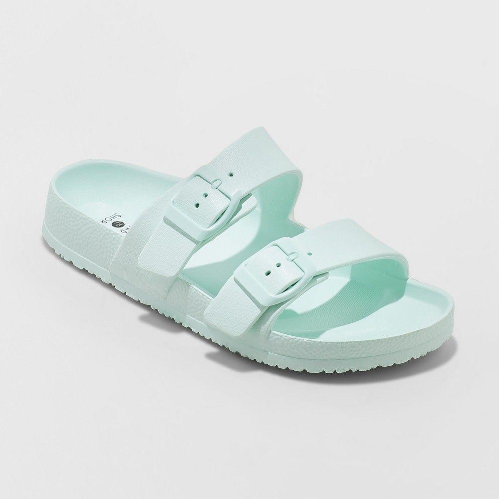 a8d8f9904e99 Women s Neida Wide Width Eva Two Band Flip Flop Slide Sandals - Shade    Shore Mint (Green) 12W