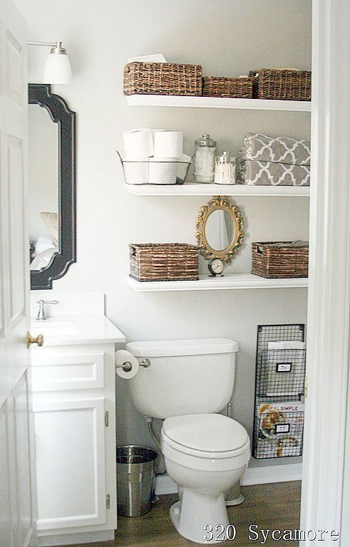 bathroom shelving for storage from 320 Sycamore (roundup of bathroom ideas)